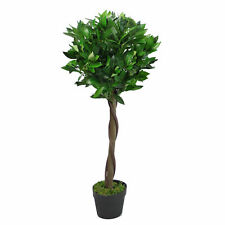 90cm (3ft) Twist Natural Trunk Artificial Topiary Bay Laurel Ball Tree LEAF-7207