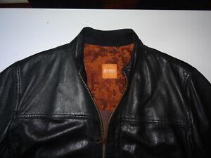 Neu HUGO BOSS Gr.50 L Orange Lederjacke Schwarz Schafsleder Jips5 40R Black