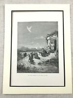 Original Victorian Print Angel Archangel Raphael The Family of Tobit Engraving