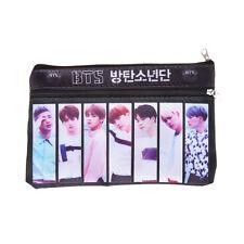 KPOP BTS Bangtan Boys Double-deck Pencil Case Pouch Cosmetics Nylon Zipper Bag