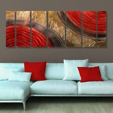 Large Red, Gold & Brown Modern Abstract Metal Wall Art Painting by Jon Allen