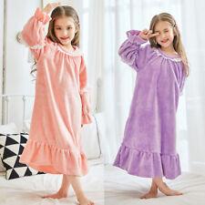 Kids Girl Homewear Flannel Pajamas Sleepwear Bathrobe Nightgown Loungwear 2Color