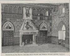 Stampa antica REPUBBLICA SAN MARINO Sala Palazzo Pubblico 1894 Old antique print