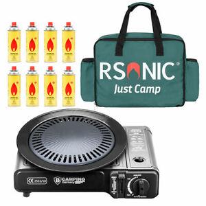 Campingkocher Outdoor Gaskocher BBQ + Grillplatte + Tragetasche + Koffer + Gas