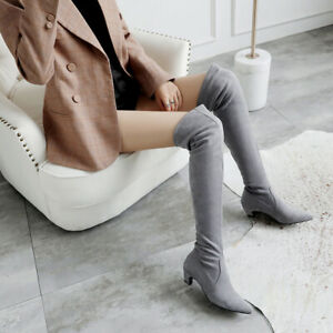 Womens Kitten Heels Pointed Toe Over Knee Boots Faux Suede Stretch Shoes Party