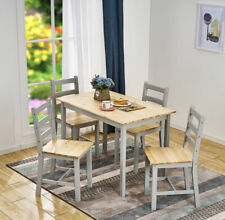 Modern Solid Wooden  Dining Table and 4 Chairs Set Home Kitchen Furniture Grey