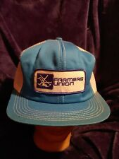 Vintage Blue And White FARMERS UNION Mesh Style Snap-back Hat Cap