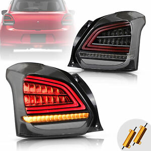 VLAND LED Tail Lights For 2017-2019 SUZUKI SWIFT Black Clear With Sequential 2*