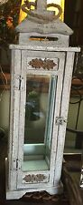 Lg. Vintage Gray/White Distressed Wood/Glass Lantern w/Rope and Carved Accents-