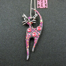 New Betsey Johnson Pink Enamel Cute Cat Crystal Animal Necklace Sweater Chain