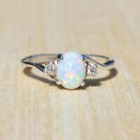 Fashion Silver Australian Fire Opal Ring Wedding Engagement Propose Size 7-10 sc
