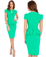 Goddess Jade Wiggle Pencil Fitted Peplum Dress Party-Wedding-Evening-Cocktail