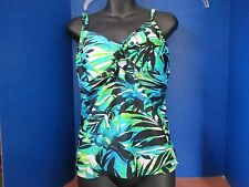 SwimSuitsforAll SHORE CLUB~Blue Green Blk Leaf TANKINI Bathing Suit TOP~Women 14