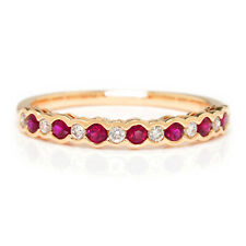 Supreme Ruby & Diamond Wedding Band Stackable 14K Rose Gold .36ctw