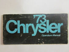 1973 Original CHRYSLER CAR Owners Manual 1ST Edition#81-070-3170 73