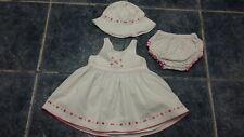 Baby girl white 3 pcs summer dress set size 3-6 mths by TU