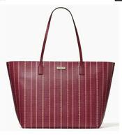 NWT Kate Spade Shore Street Heart Stripe Margaretta Cranberry X-Large Tote Bag