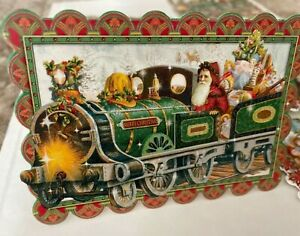 NEW lot 8 PUNCH STUDIO DIE CUT train Father Christmas Cards OLD WORLD SANTA tree