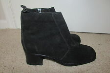 Leather Craft Black Genuine Suede Leather Ankle Boots Sz 10 M Lovely & NEW!