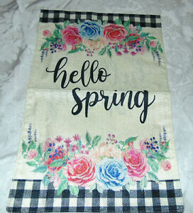 """New Hello Spring Garden Flag Banner Double Sided 18"""" x 12"""""""
