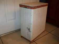 Vintage Mid Century White Red Clothes Hamper Laundry Bin Shabby Chic Primitive