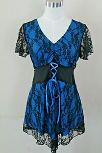 Victorian Gothic V-Neck Blue with Black Lace Shirt Top Women's Large Halloween