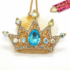 Hot Betsey Johnson Blue Shiny Crystal Crown Pendant Sweater Chain Necklace