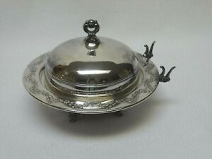 """Antique Monarch Plate Brand Silver Plate Butter Cheese Dish #221 7 1/4"""" dia."""