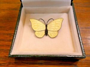 Volmer Bahner Scandinavian Silver & Enamel Butterfly Brooch in Pale Yellow