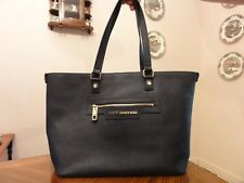 New JUICY COUTURE Large Dark Blue Genuine Leather Tote Shoulder Bag Purse