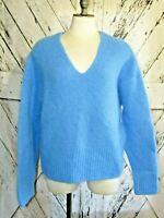 Womens H&M Wool Blend Sweater Fuzzy Knit Blue V-Neck Crop Size M Oversized Top