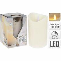LED Kerze Kerzen mit Timer Echtwachs bewegliche Flamme flackernd Wachs creme