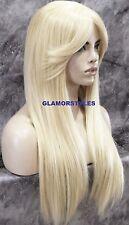 Long Straight With Bangs Human Hair Bleach Blonde Full Wig Heat Ok Hair Piece