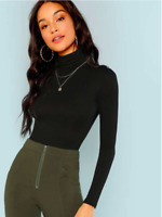 Black Long Sleeves Turtleneck Slim Fit Elegant T-Shirt Top Sz XS S M L