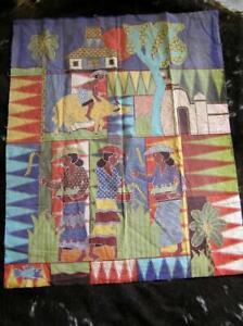 VTG Indonesian Batik Wall Painting signed Dicji Village Life Batik Fabric Art