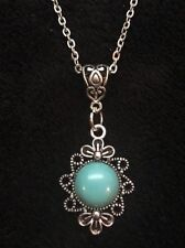 "Turquoise Stone Cameo Necklace Pendant Charm 18"" Chain Silver Native American"