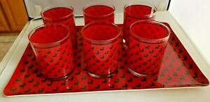Georges Briard 7 Christmas Double Old Fashioned Glasses Green Reindeer
