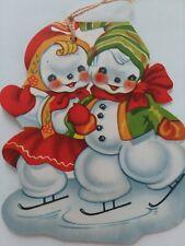 New listing Vtg Ice Skating SNOWMAN Couple CHRISTMAS Hang as ORNAMENT Greeting CARD