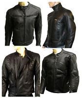 pour hommes en cuir moto CE PROTECTION VESTE DE motard noir toutes tailles NEUF
