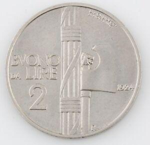 1924 ITALY 2 LIRE ITALIAN HIGH GRADE COIN