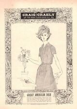 1963 Craig/Craely Fashion Dress ART Woman next to  Flower PRINT AD