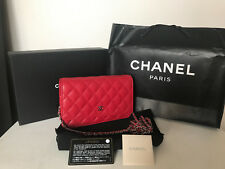 NEW! CHANEL LIPSTICK RED CAVIAR QUILTED WALLET ON CHAIN BAG SLING PURSE SALE