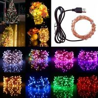 10M 100LED USB Copper Wire Micro Fairy String Light Christmas Xmas Party Decor