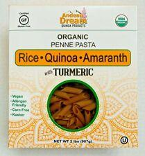 Andean Dream 2LB Organic Penne Pasta.RICE,QUINOA,AMARANTH with TURMERIC.Vegan!
