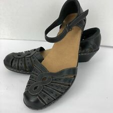 Clarks Black Leather Loafers Strappy Ankle Buckle Sandals Size 9.5 N