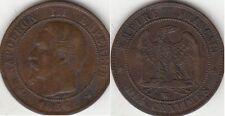 Monnaies 10 Centimes Napoléon III tête nue 1856 W