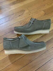 Clarks Originals WALLABEE Lace Up Suede Moccasins 55399 KHAKI Men's Size 11
