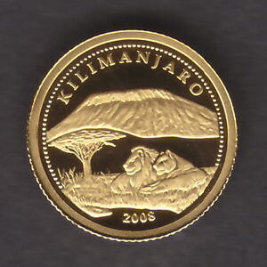 Congo. 2008 Gold 10 Francs..  Kilimanjaro..  0.5grams  .999 gold.. Proof