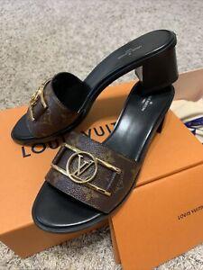 Authentic Louis Vuitton Monogram lock It Mule SANDALS Heels Shoes 39.5 NIB