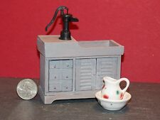 Dollhouse Miniature Dry Sink with Pump Pitcher & Bowl 1:12 G74 Dollys Gallery